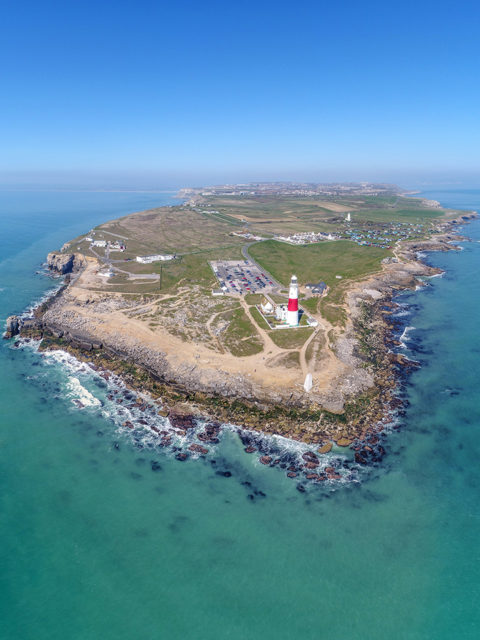 Drone shot of Portland Bill with Lighthouse