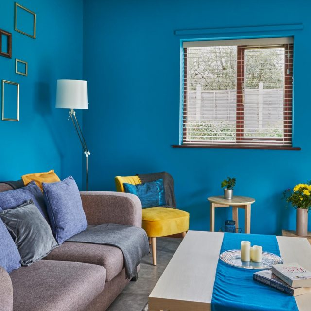 Steamer Points blue Living Room with sofa and tv